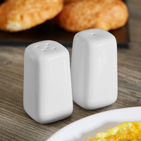 Tablecraft 168 Porcelain 2 oz. Square Salt and Pepper Shaker Set   - 6/Box
