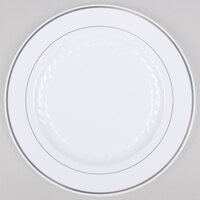 Fineline Silver Splendor 510-WH White 10 inch Plastic Plate with Silver Bands - 120 / Case