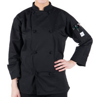Mercer Culinary M61020BKM Genesis Unisex 40 inch Medium Customizable Black Double Breasted Traditional Neck Long Sleeve Chef Jacket with Cloth Knot Buttons