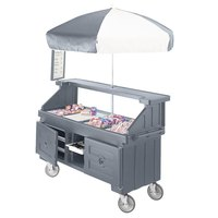 Cambro Camcruiser CVC724191 Granite Gray Vending Cart with Umbrella and 4 Counter Wells