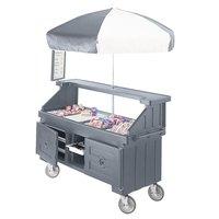 Cambro CVC724191 Camcruiser Granite Gray Customizable Vending Cart with Umbrella and 4 Counter Wells