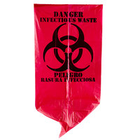 7 Gallon 17 inch X 18 inch Red Isolation Infectious Waste Bag / Biohazard Bag High Density 12 Microns - 1000/Case