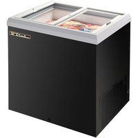True TFM-29FL Black Flat Glass Lid Horizontal Freezer - 6.3 cu. ft.