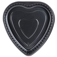 Genpak 55H09 Bake 'N Show Dual Ovenable 9 inch x 1 3/8 inch Heart Shape Black Cake Pan - 200/Case