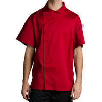 Chef Revival J020TM-XL Cool Crew Fresh Size 48 (XL) Tomato Red Customizable Chef Jacket with Short Sleeves and Hidden Snap Buttons - Poly-Cotton