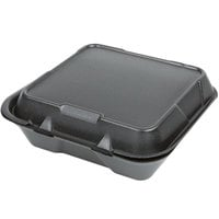 Genpak SN200-BK 9 inch x 9 inch x 3 inch Black Hinged Lid Foam Container - 200/Case