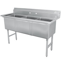 Advance Tabco FC-3-1818 Three Compartment Stainless Steel Commercial Sink - 59 inch