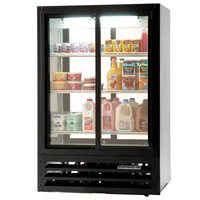 Beverage-Air LV17-1-B-54-LED 36 inch Black Lumavue Refrigerated Sliding Glass Door Pass-Through Merchandiser