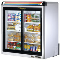 True GDM-9-S-LD Stainless Steel Countertop Two Section Display Refrigerator with Sliding Doors - 9 cu. ft.