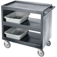Cambro BC2354S Granite Gray Three Shelf Service Cart - 37 1/4 inch x 21 1/2 inch x 34 5/4 inch
