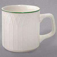 Homer Laughlin 1430-0332 Green Jade Gothic Off White 8 oz. Stacking China Mug - 36/Case