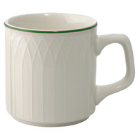 Homer Laughlin 1430-0332 Green Jade Gothic Off White 8 oz. Stacking China Mug - 36/Case