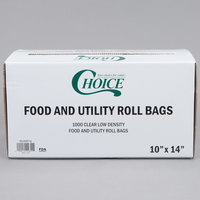 Choice 10 inch x 14 inch Plastic Food Bag On A Roll - 1000/Case