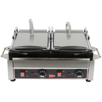 Cecilware SG2LF Double Panini Sandwich Grill with Flat Grill Surfaces - 14 1/2 inch x 9 inch Cooking Surface - 240V, 3200W
