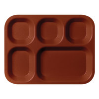 Cambro 14105CP167 10 11/16 inch x 13 7/8 inch Brown 5 Compartment Serving Tray - 24/Case