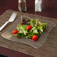 Fineline Wavetrends 108-CL 8 inch Clear Plastic Square Plate - 10/Pack