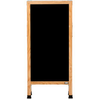 Aarco A-311 42 inch x 18 inch Oak A-Frame Sign Board with Black Marker Board
