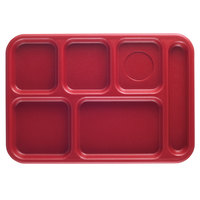 Cambro BCT1014163 Red Budget 6 Compartment Serving Tray - 24/Case