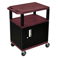Luxor / H. Wilson WT34BYC2E-B Burgundy Tuffy Two Shelf A/V Cart with Locking Cabinet - 24 inch x 18 inch x 34 inch