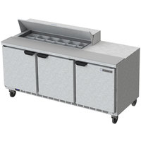 Beverage-Air SPE72HC-12 Elite Series 72 inch 3 Door Refrigerated Sandwich Prep Table