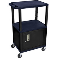 Luxor / H. Wilson WT2642ZC2E-B Navy Blue Tuffy A/V Cart 18 inch x 24 inch with 3 Shelves and Locking Cabinet - Adjustable Height