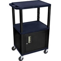 Luxor WT2642ZC2E-B Navy Blue Tuffy A/V Cart 18 inch x 24 inch with 3 Shelves and Locking Cabinet - Adjustable Height