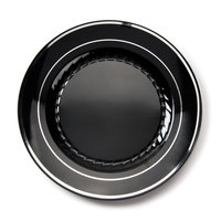 Fineline Silver Splendor 510BKS Black 10 inch Plastic Plate with Silver Bands - 120 / Case