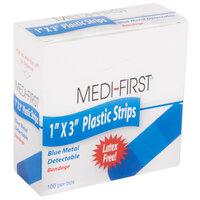 Medique 67133 Medi-First 1 inch x 3 inch Blue Plastic Adhesive Strip Bandage   - 100/Box