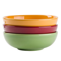 Tuxton DYB-480G DuraTux 1.5 Qt. Assorted Colors China Menudo / Pasta / Salad Bowl - 12/Case