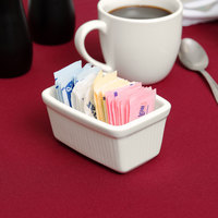 Tuxton BEQ-0452 DuraTux Ivory (American White) China Sugar Packet Holder / Caddy - 12/Case