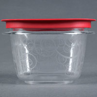 Rubbermaid 7H75 2 Cup Clear Square Premier Storage Container with Chili Red Lid (FG7H75TRCHILI)