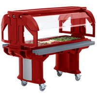 Cambro VBRL5158 Hot Red 5' Versa Food / Salad Bar with Standard Casters - Low Height