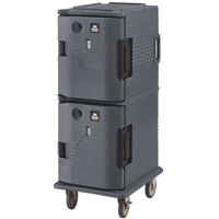 Cambro UPCH800191 Granite Gray Ultra Camcart Two Compartment Heated Holding Pan Carrier with Casters, Both Compartments Heated - 110V
