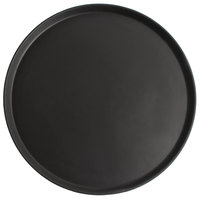 Cambro 1950CT110 Camtread® 20 inch Round Black Satin Non-Skid Low Profile Serving Tray - 12/Case