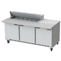 Beverage Air SPE72HC-12C 72 inch 3 Door Cutting Top Refrigerated Sandwich Prep Table with 17 inch Wide Cutting Board