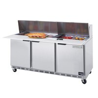 Beverage-Air SPE72-12C 72 inch Three Door Refrigerated Salad / Sandwich Prep Table with Cutting Top