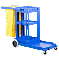 Continental 184BL Blue Janitor Cart with Vinyl Bag