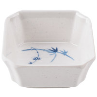 Thunder Group 1002BB Blue Bamboo 4 oz. Square Melamine Bowl   - 12/Pack