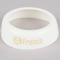 Tablecraft CB17 Imprinted White Plastic Fat Free French Salad Dressing Dispenser Collar with Beige Lettering