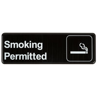 9 inch x 3 inch Black and White Smoking Permitted Sign
