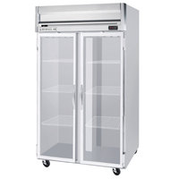Beverage Air HF2-1G-LED 2 Section Glass Door Reach-In Freezer - 49 cu. ft., Stainless Steel Front, Gray Exterior