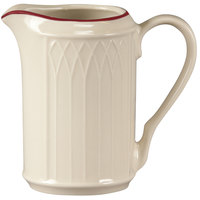 Homer Laughlin 1492-0042 Gothic Maroon Jade 7.75 oz. Off White Creamer - 36/Case