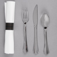 WNA Comet REFROLL3 Reflections 17 inch x 17 inch Linen-Feel White Napkin and Stainless Steel Look Heavy Weight Plastic Cutlery Set - 120 / Case
