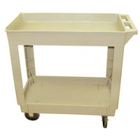 Continental 5800BE 34 inch x 17 inch Beige Utility Cart with 2-Shelf Recessed Top