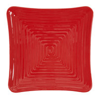 GET ML-63-RSP 10 1/4 inch Red Sensation Square Melamine Plate - 12/Pack