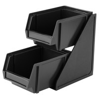 Vollrath 4840-06 Traex Black Self-Serve Condiment Bin Stand Set with 2-Tier Stand and 8 inch Condiment Bins