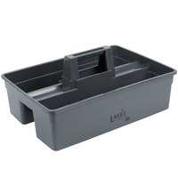 Lavex Janitorial 3 Compartment Gray Janitor Caddy - 16 inch x 11 inch x 6 3/4 inch
