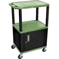Luxor WT2642GC2E-B Green Tuffy Two Shelf Adjustable Height A/V Cart with Locking Cabinet - 18 inch x 24 inch