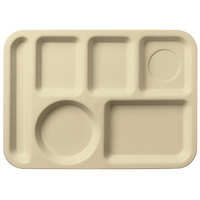Carlisle 61425 10 inch x 14 inch Tan ABS Plastic Left Hand 6 Compartment Tray
