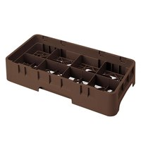 Cambro 8HS800167 Brown Camrack Customizable 8 Compartment Half Size 8 1/2 inch Glass Rack